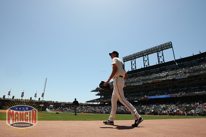 SAN FRANCISCO - MAY 16:  Randy Johnson of the San Francisco Giants walks to the bullpen before the game against the New York Mets at AT&T Park in San Francisco, California on Saturday, May 16, 2009. Photo by Brad Mangin