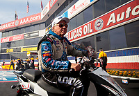 Nov 15, 2019; Pomona, CA, USA; NHRA funny car driver John Force during qualifying for the Auto Club Finals at Auto Club Raceway at Pomona. Mandatory Credit: Mark J. Rebilas-USA TODAY Sports