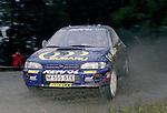 Pix: Shaun Flannery/shaunflanneryphotography.com...COPYRIGHT PICTURE>>SHAUN FLANNERY>01302-570814>>07778315553>>..1995 Network Q RAC Rally..19th November - 22nd November 1995..Richard Burns and Robert Reid..Subaru Impreza 555.555 Subaru World Rally Team.