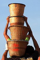 O pequeno fruto de açaÌ (Euterpe oleracea) movimenta a economia das populações ribeirinhas no estado.  Diariamente  dezenas de barcos chegam trazendo os frutos colhidos por moradores na região das ilhas e comercializado no porto. <br /> Carregadores embarcam o fruto.<br /> Abaetetuba, Pará, Brasil<br /> Foto Paulo Santos/Interfoto<br /> 26/09/2008