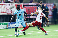 Davinson Sanchez of Tottenham Hotspur in action with Giorgos Masouras of Olympiacos Fc, during the UEFA Champions League match between Olympiacos Fc and Tottenham Hotspur, in Karaiskaki Stadium in Piraeus, Greece. Wednesday 18 September 2019