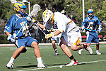 Orange, CA 05/01/10 - Kassius Boswell (UCSB # 41) and Ben Vasko (ASU # 16) in action during the UC Santa Barbara-Arizona State MCLA SLC semi-final game in Wilson Field at Chapman University.  Arizona State advanced to the final by defeating UC Santa Barbara 13-9.