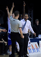 Saints coach Kevin Braswell disputes a call during the national basketball league final  between Wellington Saints and Southland Sharks at TSB Bank Arena in Wellington, New Zealand on Sunday, 5 August 2018. Photo: Dave Lintott / lintottphoto.co.nz