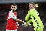 Arsenal's Aaron Ramsey tussles with Sunderland's Jordan Pickford during the Premier League match at the Emirates Stadium, London. Picture date: May 16th, 2017. Pic credit should read: David Klein/Sportimage