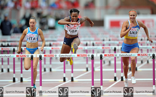 Tiffany Porter (GBR). Womens 100m Hurdles.  Day 2. European Team Athletics Championships. Gateshead. Tyne and Wear. UK. 23/06/2013. <br />  MANDATORY Credit Garry Bowden/SIPPA - NO UNAUTHORISED USE - 07837 394578