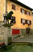 Old house in village of Savognin, Switzerland