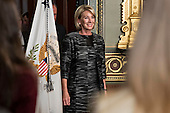 Betsy DeVos, United States Secretary of Education, arrives to be sworn in by U.S. Vice President Mike Pence, not pictured, in the Vice President's Ceremonial Office in Washington, D.C., U.S., on Tuesday, Feb. 7, 2017. DeVos squeaked through a history-making Senate confirmation vote to become U.S. education secretary, as Vice President Mike Pence broke a 50-50 tie and Republicans staved off last-minute defections that would have killed her nomination. <br /> Credit: Andrew Harrer / Pool via CNP