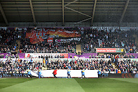 Steel workers from Tata in Port Talbot with a banner walk around the stadium before the Barclays Premier League match between Swansea City and Chelsea at the Liberty Stadium, Swansea on April 9th 2016