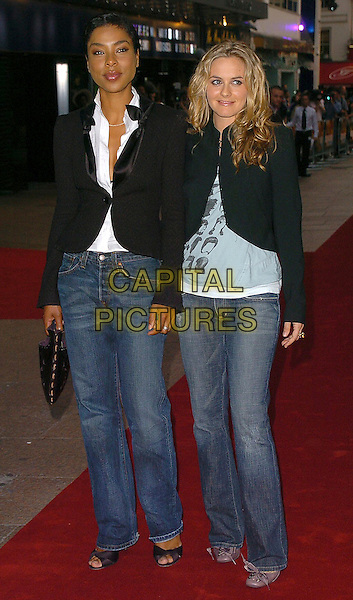 SOPHIE OKONEDO & ALICIA SILVERSTONE.Pride & Prejudice UK film premiere at the Odeon Leicester Square, London.September 5th, 2005.full length jeans denim black jackets.www.capitalpictures.com.sales@capitalpictures.com.©Capital Pictures