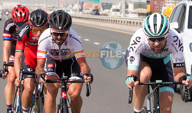 The breakaway group in action during Stage 2, the Nakheel Stage, of the 2016 Dubai Tour starting at the Dubai International Marine Club and running 188km to Palm Jumeirah Atlantis, Dubai, United Arab Emirates. 4th February 2016.<br /> Picture: ANSA/Claudio Peri | Newsfile<br /> <br /> <br /> All photos usage must carry mandatory copyright credit (&copy; Newsfile | Eoin Clarke)