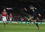 Marcos Alonso of Chelsea miss hits the ball as he is clear through on goal during the English Premier League match at the Riverside Stadium, Middlesbrough. Picture date: November 20th, 2016. Pic Simon Bellis/Sportimage