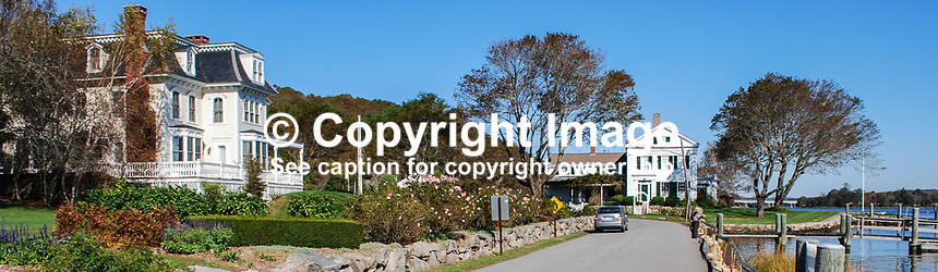 Shoreline properties along Mystic River, Connecticut, USA, 201110175240..Copyright Image from Victor Patterson, 54 Dorchester Park, Belfast, United Kingdom, UK...For my Terms and Conditions of Use go to http://www.victorpatterson.com/Victor_Patterson/Terms_%26_Conditions.html