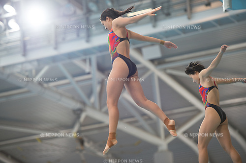 (L-R) Zhi Huan Xu & Chun Ting Wu (CHN) in the Synchronized 3m Springboard Women competition of the FINA Diving Grand Prix 2015 (Singapore) at the OCBC Aquatic Centre on 17 Oct 2015, in Singapore. They took 1st position. (Photo by Haruhiko Otsuka/Aflo)