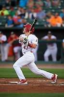 Peoria Chiefs outfielder Harrison Bader (43) at bat during a game against the Wisconsin Timber Rattlers on August 21, 2015 at Dozer Park in Peoria, Illinois.  Wisconsin defeated Peoria 2-1.  (Mike Janes/Four Seam Images)