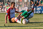 04.09.2018, Hoheellern-Stadion, Leer, GER, FSP, Werder Bremen (GER) vs FC Emmen (NED)<br /> <br /> DFL REGULATIONS PROHIBIT ANY USE OF PHOTOGRAPHS AS IMAGE SEQUENCES AND/OR QUASI-VIDEO.<br /> <br /> im Bild / picture shows<br /> Glenn Bijl (FC Emmen #23) im Duell / im Zweikampf mit Kevin Möhwald / Moehwald (Werder Bremen #06), <br /> <br /> Foto © nordphoto / Ewert