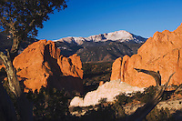 Rock formation and Pikes Peak at Sunrise, Garden of The Gods National Landmark, Colorado Springs, Colorado, USA, February 2006