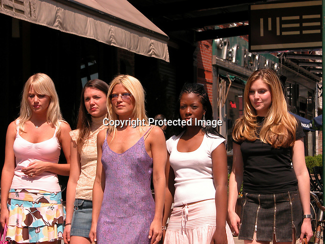 **EXCLUSIVE**.Lizzie Grubman with four girls shooting a TV commercial on the Streets of New York.Meat Packing District.New York, NY, USA.Thursday, May 27, 2004.Photo By Celebrityvibe.com/Photovibe.com, New York, USA, Phone 212 410 5354, email:sales@celebrityvibe.com.