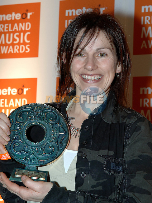 Sharon Shannon winner of the Best traditional folk award at the Meteor Irish music awards at the Point theatre in Dublin. Photo Colin Bell / Newsfile