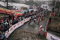 69 Junior Men race towards the first corner & already Ryan Cortjens (BEL) leads the way...<br /> <br /> Belgian National CX Championschips<br /> Kruibeke 2019
