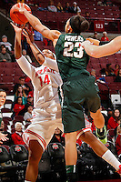 Ohio State Buckeyes guard Ameryst Alston (14) gets her shot blocked by Michigan State Spartans guard Aerial Powers (23) during the first half of their NCAA basketball game at Value City Arena in Columbus, Ohio on January 26, 2014.  (Dispatch photo by Kyle Robertson)