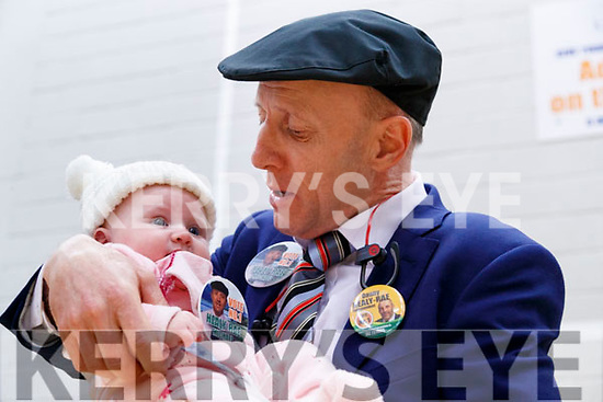 Michael Healy-Rae with his four month old grandaughter Naoise at the General Election count in Killarney on Sunday.
