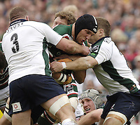 Leicester, ENGLAND.  Tiger's Ben Kay, finds the gap closed by left Richard Skuse and Robbie Russell, during the  Guinness Premiership, Rugby, Semi-Final. Leicester Tigers vs London Irish, at Welford Road, 14.05.2006. © Peter Spurrier/Intersport-images.com,  / Mobile +44 [0] 7973 819 551 / email images@intersport-images.com.   [Mandatory Credit, Peter Spurier/ Intersport Images].14.05.2006