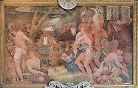 Sacrifice, fresco by Rosso Fiorentino, 1535-37, in the Galerie Francois I, begun 1528, the first great gallery in France and the origination of the Renaissance style in France, Chateau de Fontainebleau, France. The Palace of Fontainebleau is one of the largest French royal palaces and was begun in the early 16th century for Francois I. It was listed as a UNESCO World Heritage Site in 1981. Picture by Manuel Cohen