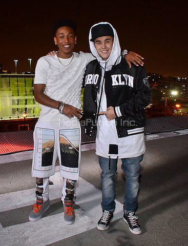 "LOS ANGELES - JUNE 25: Justin Bieber drops by to visit singer/ actor Jacob Latimore who was shooting the video for his new single ""Heartbreak Heard All Around The World"" featuring T Pain, on Wednesday, June 25, 2014 in Los Angeles, California. Credit: Wise/Pg/MediaPunch *** Higher Rates**"