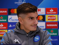 26th November 2019; Anfield, Liverpool, Merseyside, England; UEFA Champions League, Liverpool versus Napoli, Napoli Press Conference; Giovanni Di Lorenzo of SSC Napoli i speaking to the media during today's press conference at Anfield ahead of tomorrow's Champions League group match against Liverpool - Editorial Use