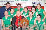 Gerard Murphy presents the Senior Ladies trophy to the Mary Gardinar Captain of Blue Flu after they defeated St Pauls in the final at at the Castleisland basketball blitz on Friday l-r: Catriona White, Gerard Murphy Mary Gardiner, Michelle Fahy. Back row: Frank Tracey Cpach, Michelle Conway, Catriona O'Connell, Catherine Canty, Maria Flynn and Angelene Myers................
