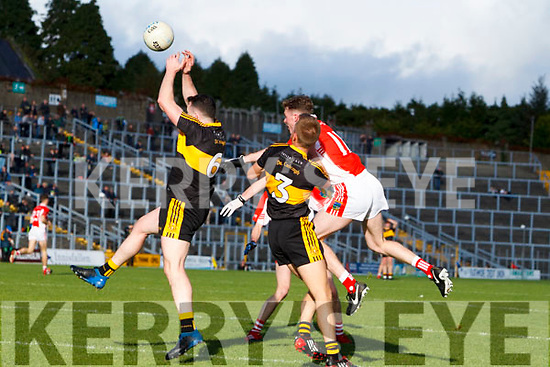 Alan O'Sullivan Dr Crokes in action against Dara Ó Sé West Kerry in the Kerry Senior Football Championship Semi Final at Fitzgerald Stadium on Saturday.