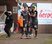 Lincoln City's Scott Wharton, left, celebrates scoring his side's fifth goal with Michael Bostwick<br /> <br /> Photographer Andrew Vaughan/CameraSport<br /> <br /> The EFL Sky Bet League Two - Port Vale v Lincoln City - Saturday 13th October 2018 - Vale Park - Burslem<br /> <br /> World Copyright © 2018 CameraSport. All rights reserved. 43 Linden Ave. Countesthorpe. Leicester. England. LE8 5PG - Tel: +44 (0) 116 277 4147 - admin@camerasport.com - www.camerasport.com