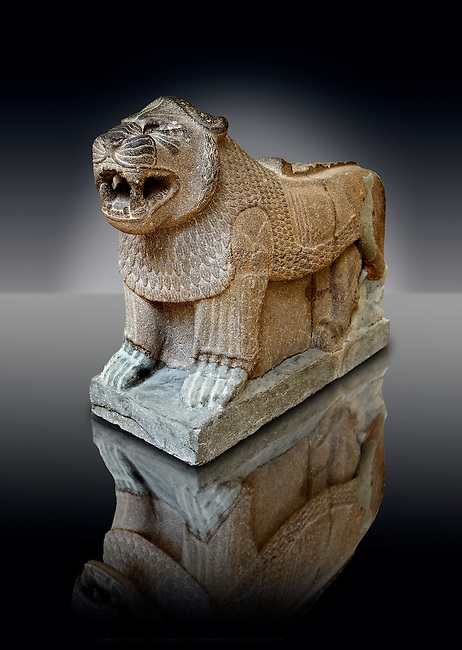 Late Hittite Basalt Portal Lion sculpture from 9th Cent B.C, excavated from Palace Building P Sam'al (Hittite: Yadiya) located at Zincirli Höyük in the Anti-Taurus Mountains of modern Turkey's Gaziantep Province. Istanbul Archaeological Museum inv. No 7777.