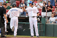 Buffalo Bisons outfielder Kirk Nieuwenhuis (36) greets Mike Cervenak (22) after a home run during a game vs. the Syracuse Chiefs at Coca-Cola Field in Buffalo, New York;  August 30, 2010.  Syracuse defeated Buffalo 4-1.  Photo By Mike Janes/Four Seam Images