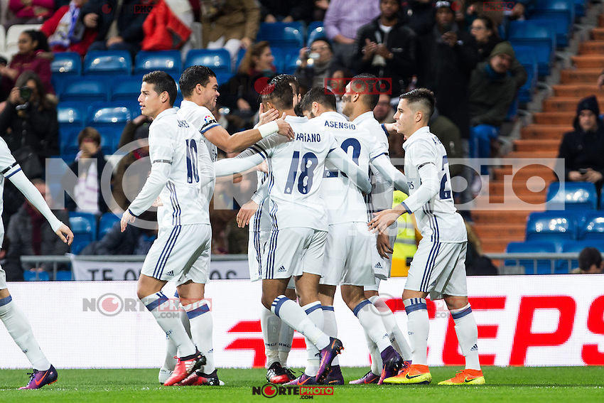 "Real Madrid's Mariano , Marco Asensio, James Rodriguez, Martin Odegaard  during the match of ""Copa del Rey"" between Real Madrid and Cultural Leonesa at Santiago Bernabeu Stadium in Madrid, Spain. November 29, 2016. (ALTERPHOTOS/Rodrigo Jimenez) /NORTEPHOTO.COM"
