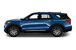 Car Driver side profile view of a 2020 Ford Explorer Limited 5 Door SUV Side View