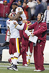Washington Redskins quarterback Rex Grossman celebrates with Redskins cornerback DeAngelo Hall after throwing a 51-yard touchdown pass to wide receiver Anthony Armstrong in the fourth quarter at CenturyLink Field in Seattle, Washington on November 27, 2011. Redskins stunned the Seattle Seahawks 23-17. UPI/Jim Bryant ©2011 Jim Bryant Photo. All Rights Reserved.