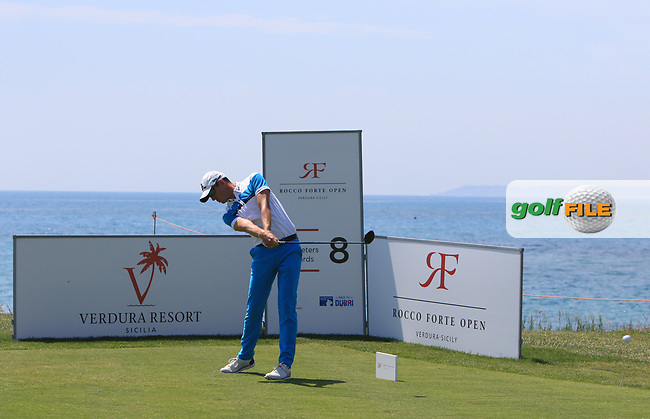 Alexander Bjork (SWE) on the 8th tee during Round 1 of The Rocco Forte Open  at Verdura Golf Club on Thursday 18th May 2017.<br /> Photo: Golffile / Thos Caffrey.<br /> <br /> All photo usage must carry mandatory copyright credit     (&copy; Golffile | Thos Caffrey)