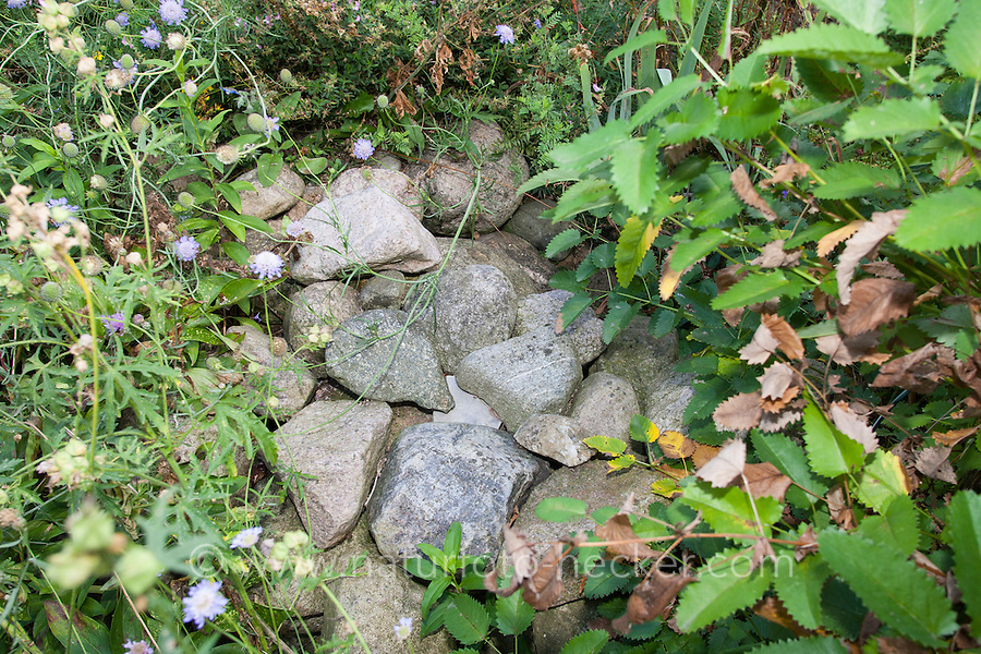 Steinhaufen, Natursteine auf einem Haufen, Legesteinhaufen, Lesesteinhaufen, Steine, als Unterschlupf, Lebensraum für Tiere im Garten, Tierfreundlicher Garten, Naturgarten, Rock piles, Rockpiles, natural stones on a pile of stones, as shelter, habitat for animals in the garden, natural garden