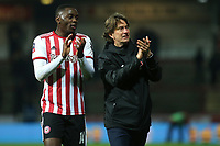 Brentford's Josh DaSilva and Manager, Thomas Frank, applaud the home fans at the end of the match during Brentford vs Oxford United, Emirates FA Cup Football at Griffin Park on 5th January 2019