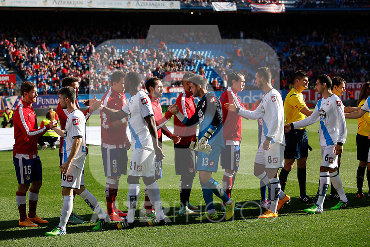 Atletico de Madrid´s players and Deportivo de la Coruña´s players during 2014-15 La Liga match between Atletico de Madrid and Deportivo de la Coruña at Vicente Calderon stadium in Madrid, Spain. November 30, 2014. (ALTERPHOTOS/Victor Blanco)