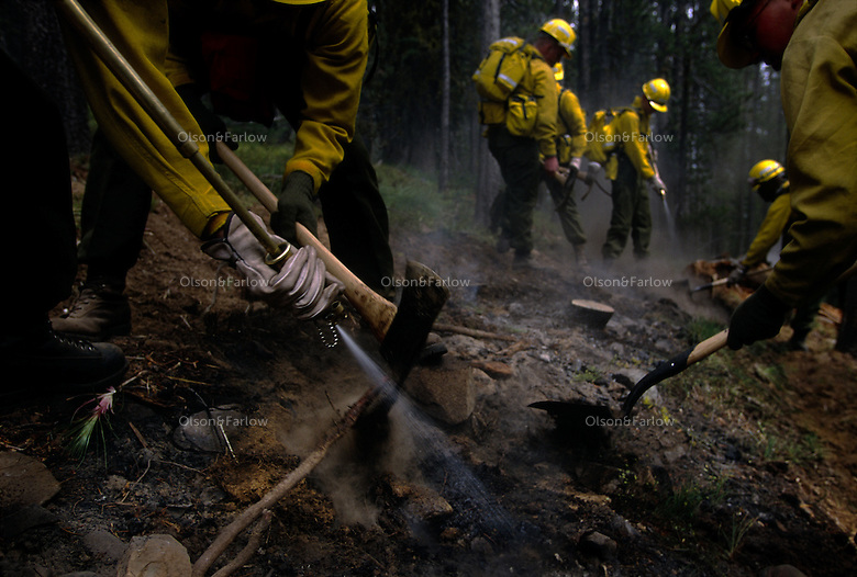 Military crews that are trained as firefighters attack smoldering embers near Clear Creek, Idaho. More than a billion dollars is spent annually suppressing fires that burn millions of acres of western land... Though wildland fires play an integral role in many forest and rangeland ecosystems, decades of efforts directed at extinguishing every fire that burned on public lands have disrupted the natural fire regimes that once existed. ..Moreover, as more and more communities develop and grow in areas that are adjacent to fire-prone lands in what is known as the wildland/urban interface, wildland fires pose increasing threats to people and their property...
