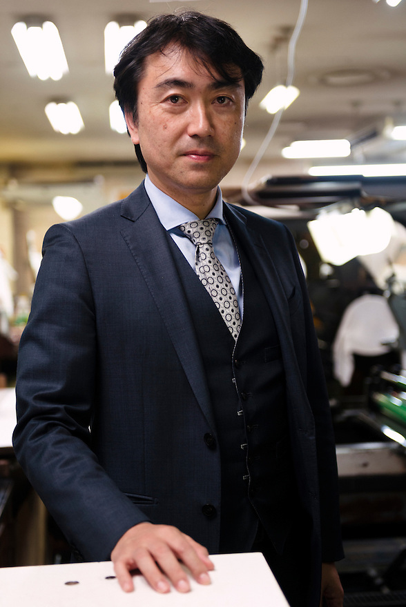 Burned CEO Takumi Suzuki. Benrido collotype atelier, Kyoto, Japan, October 13, 2015. The Benrido collotype atelier in Kyoto was founded in 1887 and is the only full-scale commercial collotype atelier in the world. Collotype is a historic photographic printing process that makes use of plates coated in gelatine. It produces prints of unrivalled quality.