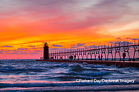 64795-02616 South Haven Lighthouse at sunset South Haven,  MI