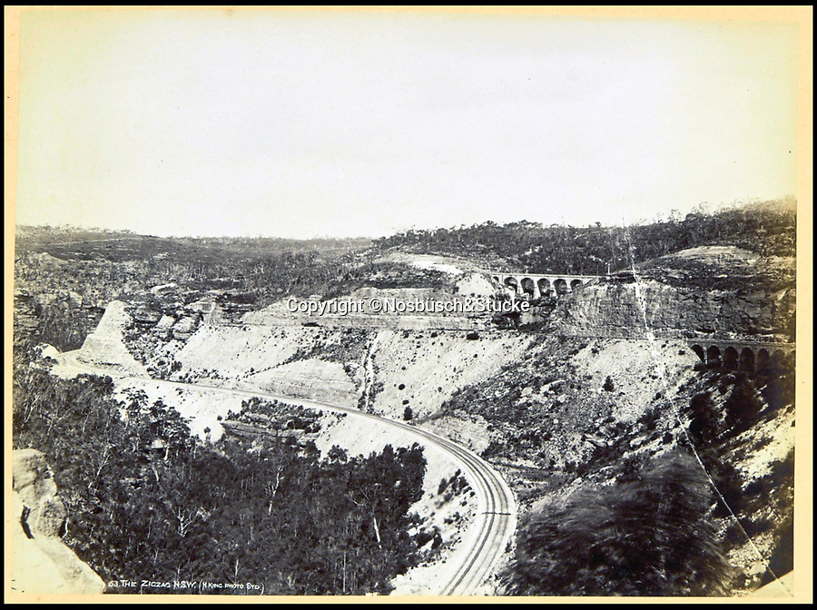 BNPS.co.uk (01202 558833)<br /> Pic: Nosbüsch&Stucke/BNPS<br /> <br /> The Zigzag railway, New South Wales.<br /> <br /> A stunning collection of photographs of Sydney decades before the iconic harbour bridge and opera house were built has been unearthed after 129 years.<br /> <br /> The black and white photo album captures the bustling city centre, picturesque main harbour and famous beaches of the future tourist hot-spot. <br /> <br /> The photos were taken by celebrated Australian photographer Henry King in 1888 who was born in England but emigrated to Australia at a young age and spent the rest of his life there.<br /> <br /> More recently they have fallen into the hands of a German collector who has decided to put them on the market and they are tipped to sell for £1,800.<br /> <br /> Many of Sydney's most recognisable landmarks including Manly beach and Coogee bay look very different to what backpackers would encounter today.<br /> <br /> King also took various photos of Circular Quay - the city's main harbour - but missing from them are images of the Sydney Harbour Bridge and Sydney Opera House as these landmarks were both not built until well into the 20th century.