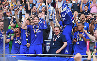 Cardiff City manager Neil Warnock and Cardiff City's Captain Sean Morrison celebrate winning promotion to the Premier League <br /> <br /> Photographer Ian Cook/CameraSport<br /> <br /> The EFL Sky Bet Championship - Cardiff City v Reading - Sunday 6th May 2018 - Cardiff City Stadium - Cardiff<br /> <br /> World Copyright &copy; 2018 CameraSport. All rights reserved. 43 Linden Ave. Countesthorpe. Leicester. England. LE8 5PG - Tel: +44 (0) 116 277 4147 - admin@camerasport.com - www.camerasport.com