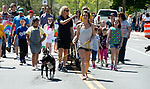 WINSTED,  CT-051819JS07- Parade participants arch down Main Street in Winsted during the 83rd annual Rotary Club Pet Parade  on Saturday. <br /> Jim Shannon Republican American