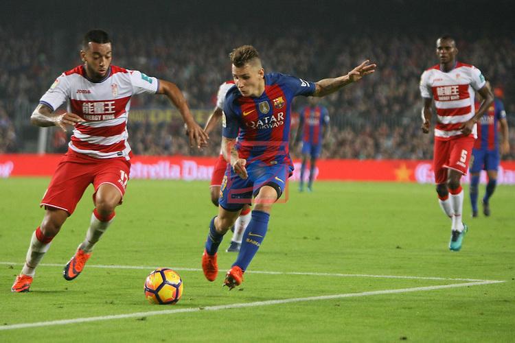 League Santander 2016/2017. Game: 10.<br /> FC Barcelona vs Granada CF: 1-0.<br /> Ruben Vezo vs Lucas Digne.