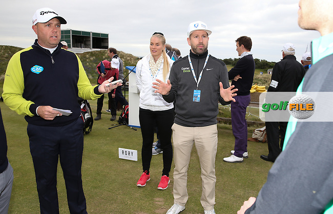 Graeme Storm (ENG) explaining how the Game Book app is used during the Pro-Am ahead of the 2015 Dubai Duty Free Irish Open Hosted by The Rory Foundation at Royal County Down Golf Club, Newcastle, Northern Ireland. 27/05/2015Picture David Lloyd | www.golffile.ie