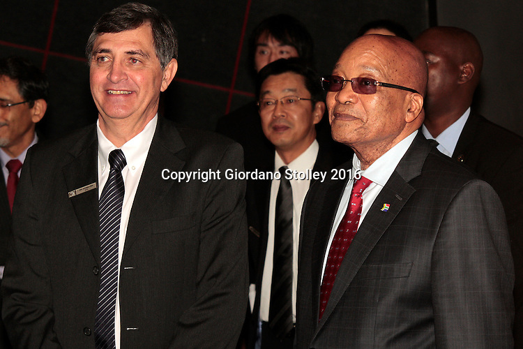 DURBAN - 24 May 2016 - South African president Jacob Zuma (right) and Johan van Zyl, chairman of Toyota in South Africa, at a presentation during the official launch by Toyota of its new Hilux and Fortuner ranges at its plant in Durban. Picture: Allied Picture Press (APP)